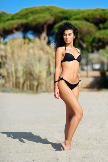 Young Arab woman with beautiful body in swimwear on a tropical beach. Brunette female with curly long hairstyle wearing black bikini. Pine tree at the background Young Adult Young Women Portrait One Person Focus On Foreground Looking At Camera Beauty Real People Full Length Clothing Land Beautiful Woman Lifestyles Bikini Women Nature Swimwear Day Hair Hairstyle Fashion Outdoors