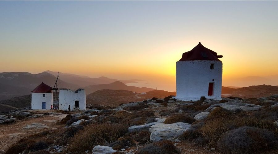Windmill Greece Photos Chora House Beauty In Nature Landscape Nature Architecture Built Structure Sunset Outdoors