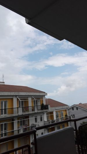 No People City Architecture Sky Outdoors Day In My Balcony Balcone Balcony Balcony View Vista Sky And Clouds Cielo Nuvole Blue Blue Sky Blu Bianche White Landscape Case Houses Outdoors Photograpghy  Citta City