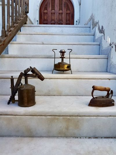Gas Stove Old Stuff Old Metal Vintage Old-fashioned Retro Styled Day No People Rusty Iron White Background Outdoors Blowtorch Stairs Marble Bronze Outdoors Photography Naxos Greece