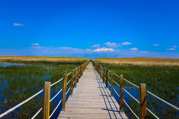 Wooden footbridge on field against sky