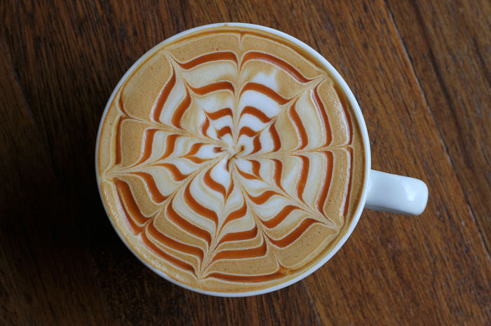 Caramel Macchiato Coffee Hot Brown Cappuccino Close-up Coffee - Drink Coffee Cup Day Directly Above Drink Food Food And Drink Freshness Froth Art Frothy Drink High Angle View Indoors  No People Pattern Ready-to-eat Refreshment Sweet Food Table Wood - Material