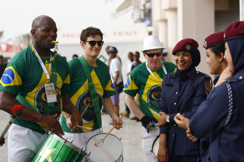 Serenade Music Band Sports Event  Security Musicians Young Women Men Middle East Gulf Countries Streetphotography Entertain Entertainment People And Places Uniforms TakeoverMusic People Together in Bahrain Carnival Carnival Crowds And Details EyeEm Diversity