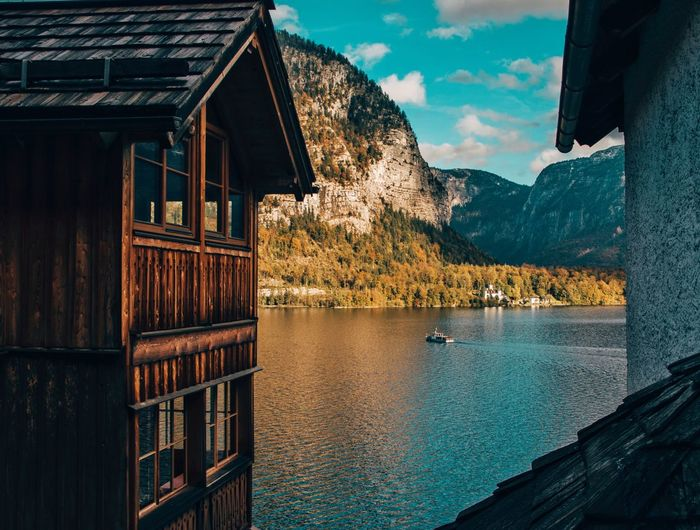 Austria Tranquility Architecture Beauty In Nature Building Exterior Built Structure Hallstatt House Lake Mountain Nature Nature_collection Nature_perfection Naturelovers No People Outdoors Scenics Tranquil Scene Water Wooden House