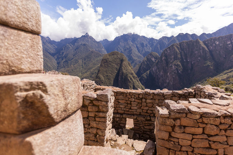 Scenic view of mountains seen from machu picchu old ruin