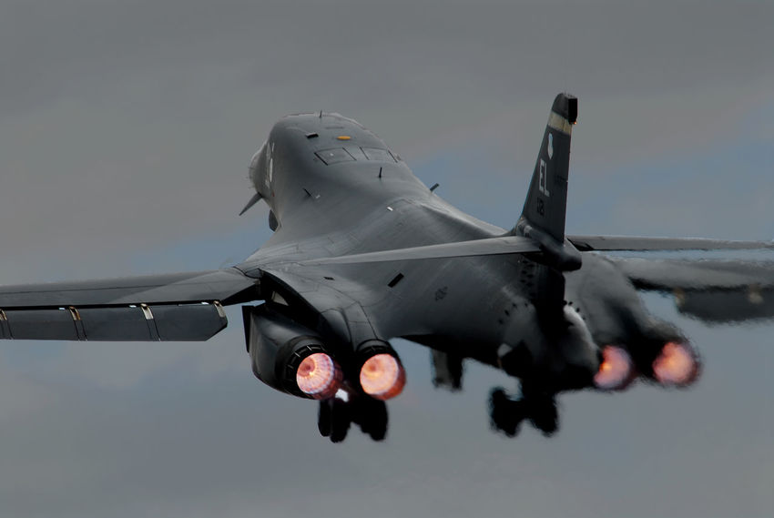 Feel the roar B-1 Lancer B-1B Afterburner Afterburners Air Vehicle Airplane Clear Sky Day Fighter Plane Flying Military No People Outdoors Sky Transportation