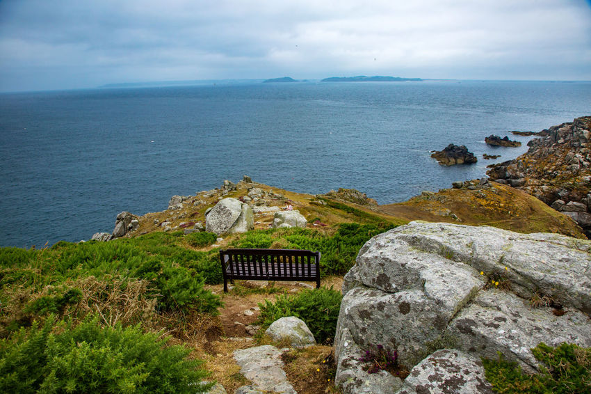 Bench English Channel Eperquerie Isle Of Sark Architecture Beauty In Nature Built Structure Cloud - Sky Day Grass Horizon Over Water Idyllic Island Nature No People Outdoors Rock - Object Sark Scenics Sea Sky Tranquil Scene Tranquility Water