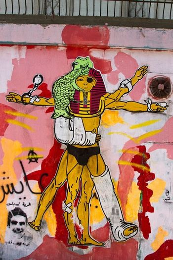 Revolutionary Art in the heart of Cairo. Graffiti Art Street Photography Streetart Colors Revolution Cairo Egypt Man Arab