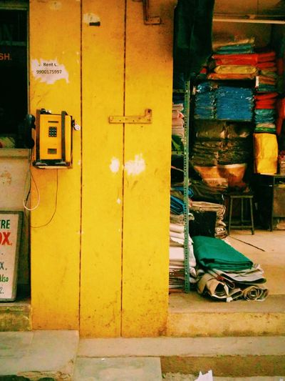 Yellow Telephone Box Yellow Walls Garage Unnoticedbeauty Lonely Roads Streets Streetphotography Childhood Memories Need Alldayeveryday  Colourful India Passerby