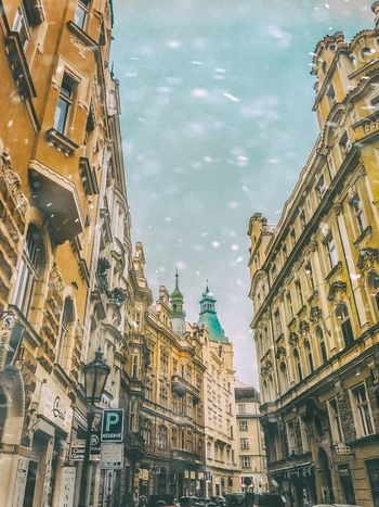 Architecture Sky Building Exterior Built Structure City Travel Destinations Low Angle View Outdoors No People Day Historical Historical Building Building Snow Snowing Snowy Snowflake Urban Prague Czech Republic Praha