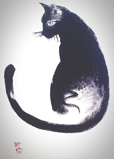 BLackCat Cat Sumi-e Painting Japanese  Art Design Interior Design Ink Japan