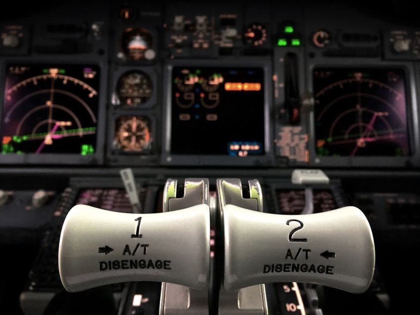 Cockpit Vehicle Interior Air Vehicle Airplane No People Lever Thrust Boeing 737 Transportation Instrument Airline Jet B737 B737ng EyeEmNewHere