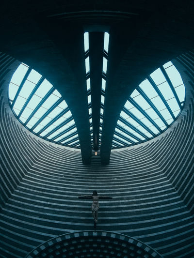 Architectural Feature Architecture Backgrounds Bridge Built Structure Ceiling Connection Day Diminishing Perspective Indoors  Lifestyles Low Angle View Metal Modern No People Pattern San Giovanni Battista Transportation