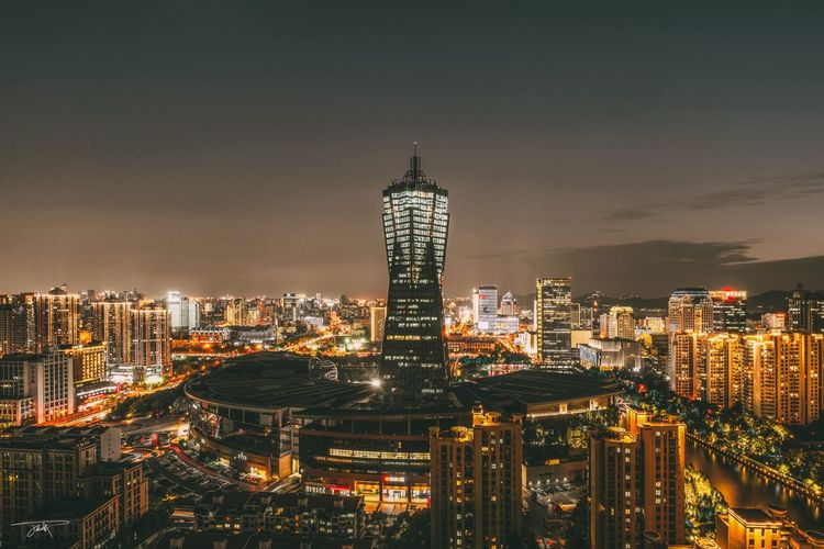 Hangzhou city Citiyscape Hangzhou Building Exterior Built Structure Architecture City Building Illuminated Cityscape Skyscraper Office Building Exterior Night Sky Modern Tall - High Office Urban Skyline Residential District Tower Nature Travel Destinations No People