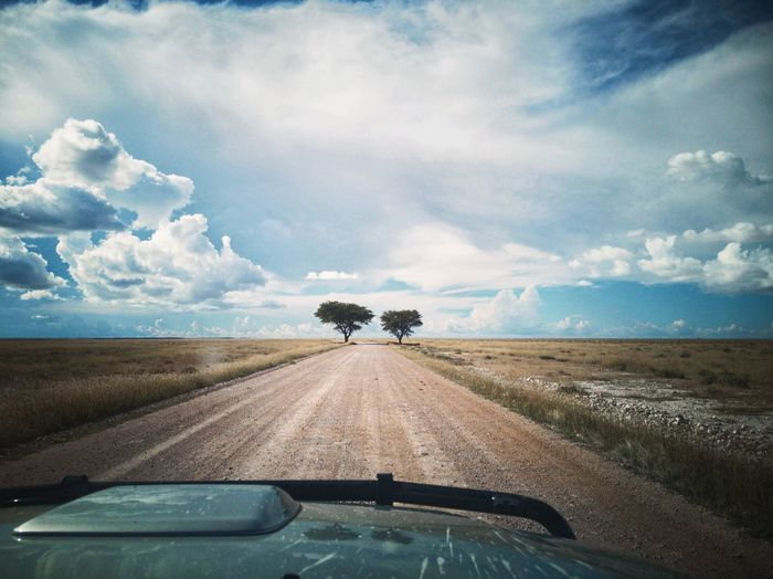 Road amidst field seen through car windshield
