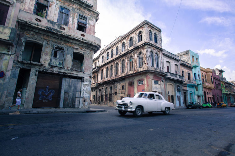 Vintage classic car on a street of Havana, Cuba. American Cars Building Building Exterior City Life City Street Cuba Cuban Havana Havana Cuba Land Vehicle Mode Of Transport Old Buildings Old Times Street Transportation Vintage Vintage Car Vintage Cars