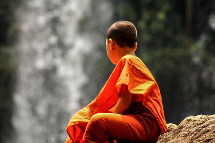 Religion Spirituality Place Of Worship Cultures Rear View Day People Young Monk Buddhist Monks Buddhism Peace Calmness Ponder State Of Mind  Siem Reap, Cambodia Minimalism People Watching Saffron My Year My View Outdoors Kulen Mountain Cambodia Solitude Human Interaction Emotions Long Goodbye