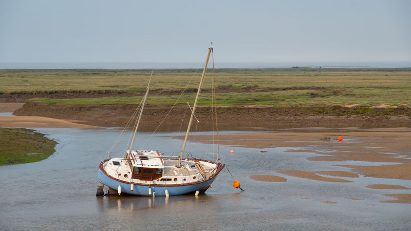 Norfolk Beach Beached Clear Sky Day Fenders Fens Fishing Fishing Boat Moored Nature Nautical Vessel No People Outdoors Sailing Sea Sky Tide Out Water