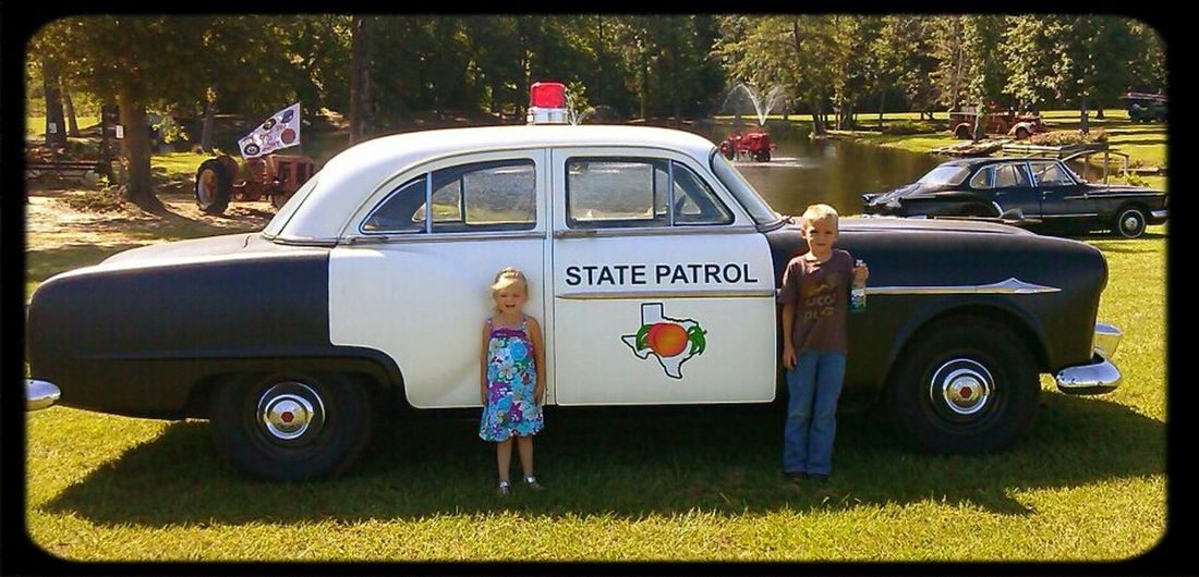 Took grandkids to the peach orchard and saw this! Cool! Just Peachy Old Car! Old Time Summertime Fun Times