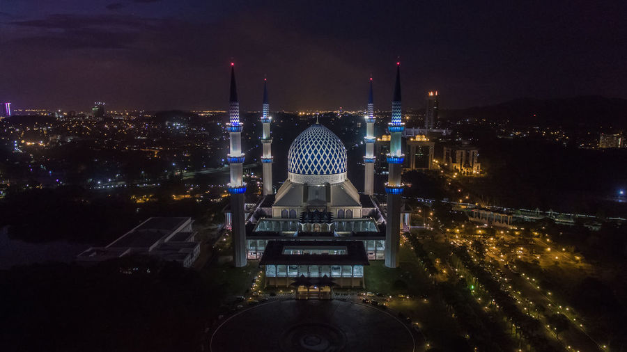 High Angle View Of Shah Alam Against Sky At Night