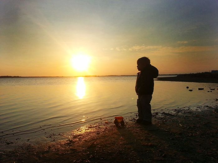 Autumn Boy Wonderful Crimea Ivning Sunset Sky Water Beach Beauty In Nature Silhouette Sea Orange Color Real People One Person Scenics - Nature Nature Horizon Over Water