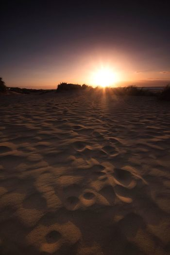 Sand, Sky, Sun Beach Patterns Sand Patterns Hunstanton Norfolk Sand Dune Sandy Beach Sand Sunset Sunshine Beachphotography Sky Sunset Land Sand Tranquility Beauty In Nature Scenics - Nature Sunlight Beach Tranquil Scene Idyllic Orange Color Sun
