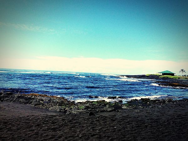 Hawaii black beach Aloha