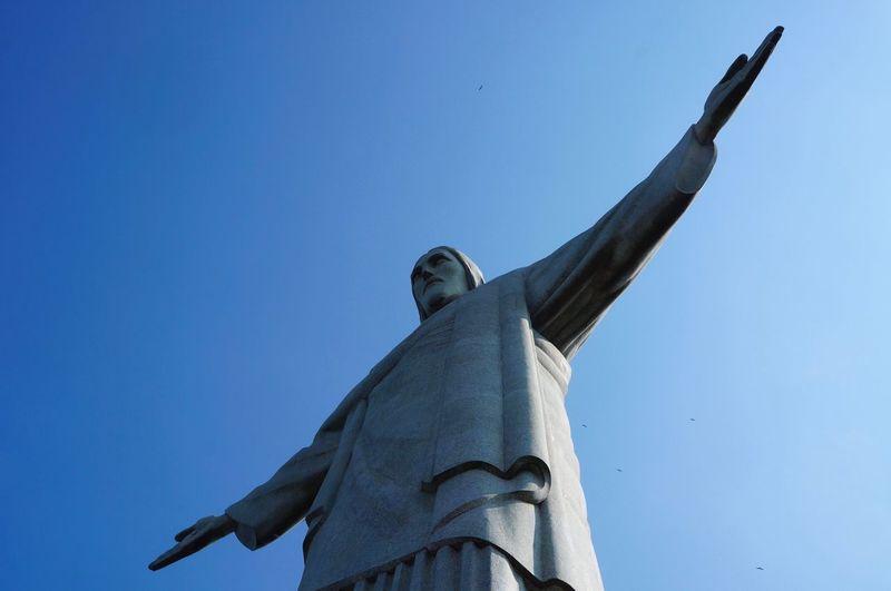 Blue Sky Corcovado Rio De Janeiro EyeEm Selects Low Angle View Sky Blue Statue Clear Sky No People