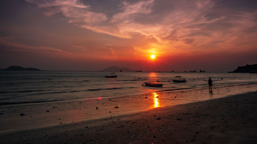 Wave Water Low Tide Sea Sunset Beach Swimming Beauty Full Length Sand
