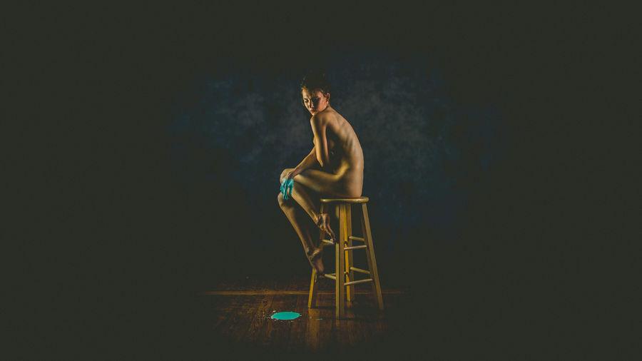 The Creative - 2018 EyeEm Awards Beautiful Woman Black Background Copy Space Digital Composite Illuminated Seat Studio Shot Young Women