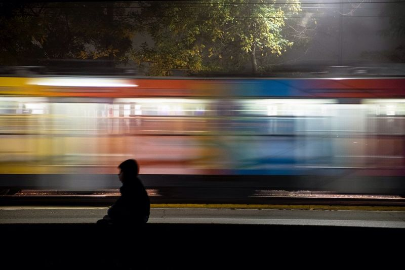 Blurred Motion Transportation Motion Speed Public Transportation Mode Of Transport Train - Vehicle Rail Transportation Illuminated Railroad Station Long Exposure Outdoors Subway Train Passenger Tree Moving Passing Moving Past Night The City Light Welcome To Black
