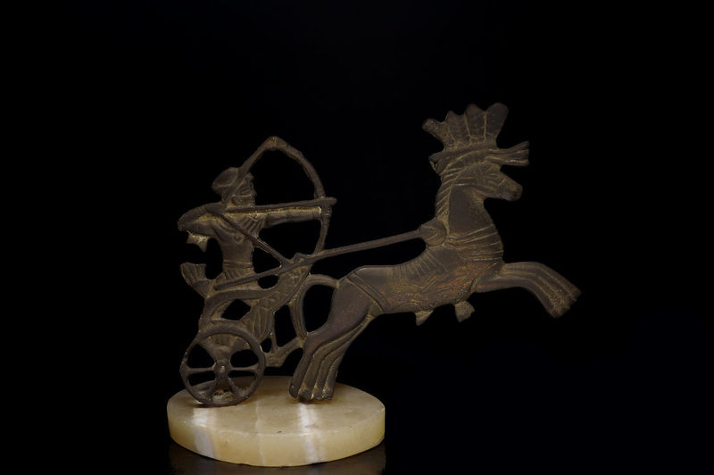 Black Background Carriage Chariot Close Up Egypt Egyptian Figurine  Horse Light Box Light Tent Low Key Metal Miniature Still Life