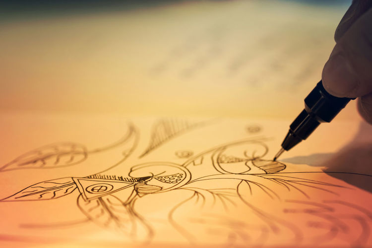 The artist Art And Craft Book Close-up Creativity Drawing Finger Fountain Pen Hand Holding Painting Paper Pen Pencil