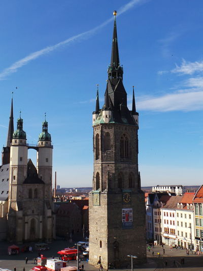 Architecture Architektur Blauer Himmel Blue Sky Church Clock Tower Germany Halle  Halle/Saale Kirche Religion Spirituality