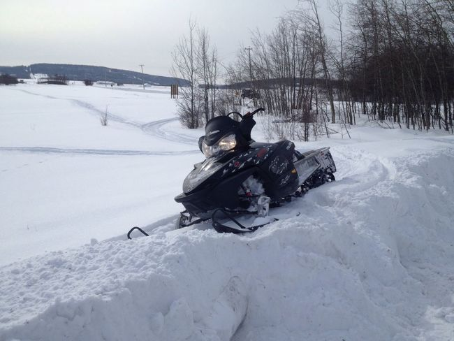 Short ride in the back yard Winter Snow Snowmobiling