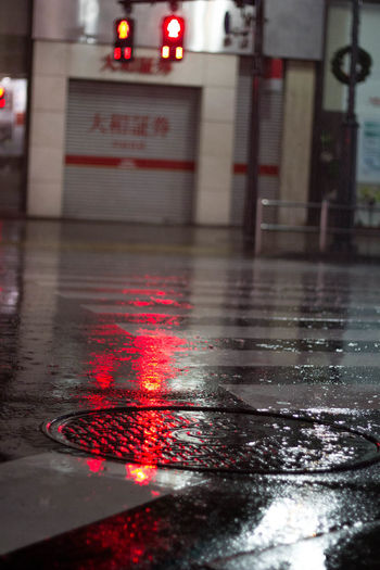 Reflection Close-up Illuminated Night Rain Rainy Season Red Water Weather Wet