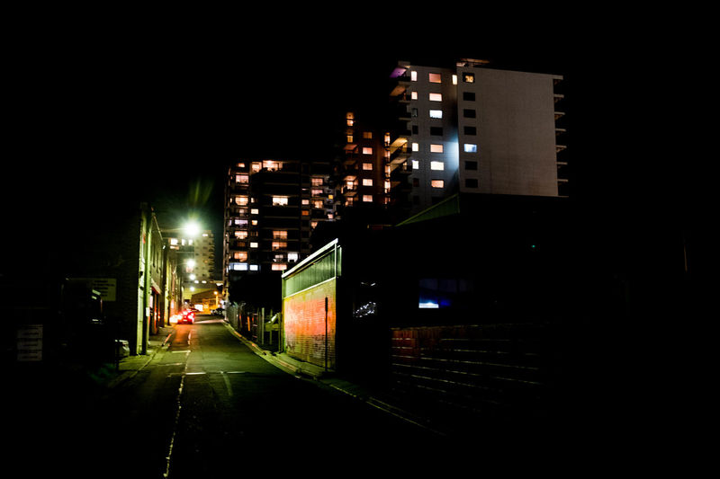 Alleyway Building Exterior City Illuminated Night No People Outdoors Residential Building Road