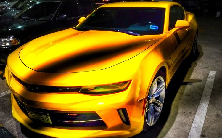 Camaro Rs EyeEmNewHere Racecar Auto Racing Outdoors Irapuato Parking Lot Art Lights And Shadows Yellow Car Nightshot Mobility In Mega Cities Visual Creativity