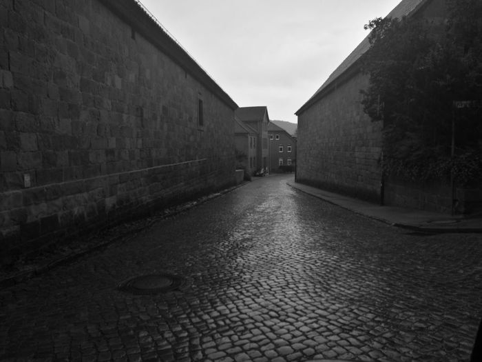 Alley Architecture Brick Wall Building Built Structure Day Diminishing Perspective Empty Footpath Long Narrow No People Outdoors Pathway Sky The Way Forward Vanishing Point Walkway