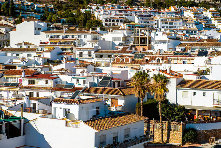 High angle view of benalmadena town on sunny day