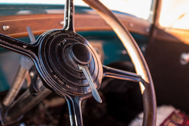 High Angle View Of Rusty Steering Wheel In Vintage Car