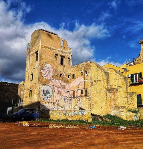 City Ancient Civilization History Ancient Sky Architecture Building Exterior Built Structure Cloud - Sky Pyramid Street Art Palace Spray Paint Vandalism Mural Sculpture Civilization