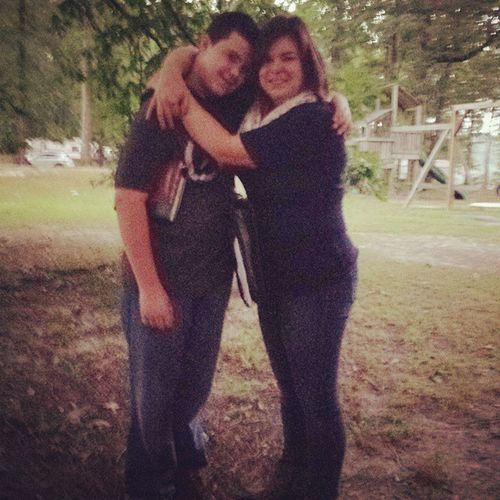My Babyboy I'm only as tall as him in this pic because I have on boots and I stood on a root!