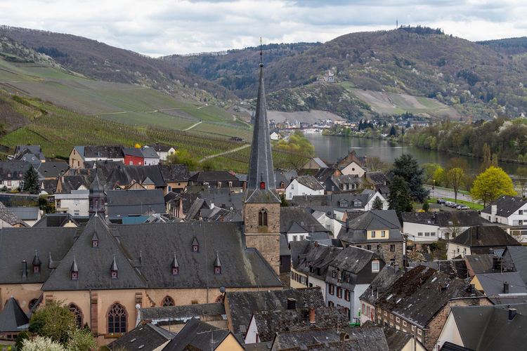 The wine-village graach at the river mosel with the church in the middle