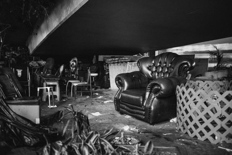People in abandoned building