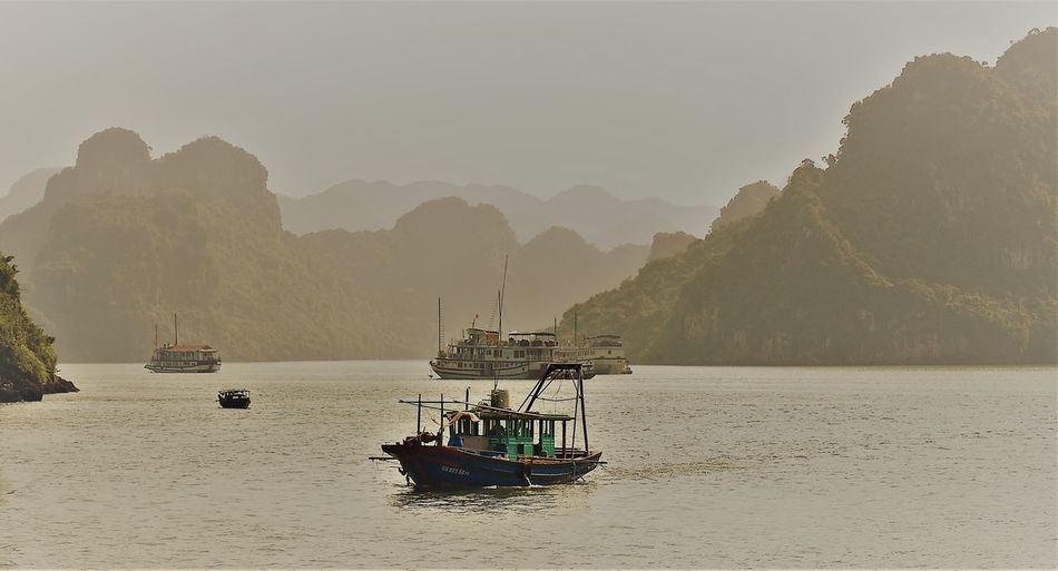 Ha Long Bay EyeEm Nature Lover Nautical Vessel Transportation Beauty In Nature Sailing Fishing Boat Formation Mode Of Transportation Nature Tranquility Non-urban Scene Sea