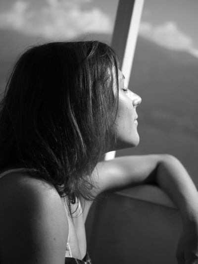 Taken on the same trip, on a boat at Lago Maggiore. Sunny Enjoying The Sun Smiling Detail Portrait Monochrome Girlfriend Love Boat Trip Vacations A New Beginning Women Young Women Females Close-up Shoulder Thoughtful Human Skin Human Hair Human Lips Attractive International Women's Day 2019