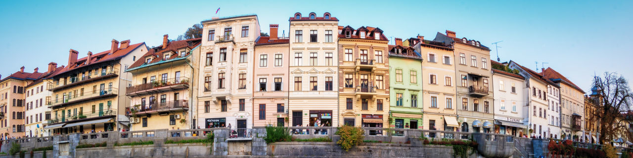 Ljubljana Riverfront Architecture Building Exterior City Built Structure Building City Life Residential District Sky Façade Travel Destinations Clear Sky Window Apartment Nature Row House Street Day House Panoramic Outdoors Gothic Style Ljubljana Europe EyeEm City Shots