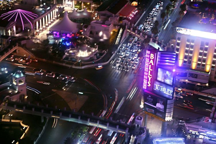 Flying High Las Vegas intersection.... Illuminated Night City Street Travel Destinations Nightlife Cityscape No People Downtown District Outdoors Mobility In Mega Cities