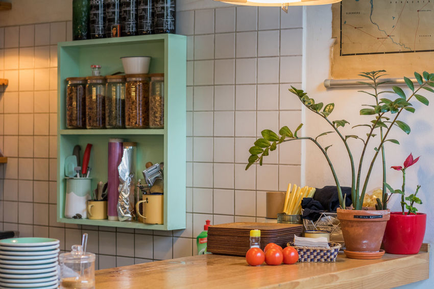 No People Indoors  Cabinet Domestic Room Healthy Eating Day Foil  Multi Colored Desk Design Tomato Fruit Map Glass Kitchen Plant Eclectic Coffee Jars  Potted Plant Food And Drink Aluminum Plate Counter Wood